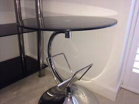 Black Chrome shelf unit plus black chrome glass side table