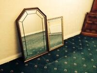 Mirrors x 2 - 1 in dark oak, 1 with a golden frame