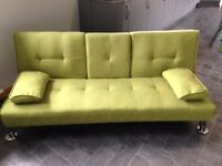 2x LIME GREEN SOFAS (SOFA BEDS) REDUCED
