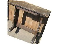 Table, small, trestle, dark wood, Antique