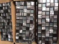 Designer Mosaic Tile Panels, Metallic Aluminium 300mm x 150mm
