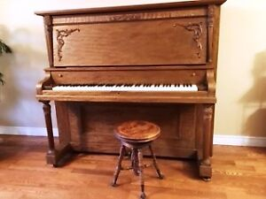 Vintage glass claw foot piano stool with Bell Piano