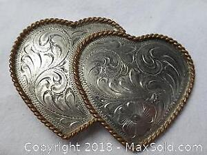 Dual Sterling Hearts belt buckle with Gold toned Rope style Frame