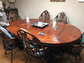 Large dinning table 7 cathedral back chairs