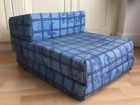 FUTON CHAIR/FOLD DOWN BED, BLUE IDEAL FOR GUESTS, CHILDREN'S FRIENDS SLEEPOVERS, ETC
