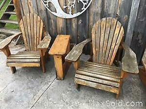 Two Adirondack Chairs And Table In Pine