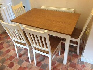Dining table and 4 chairs for salein Rogerstone, NewportGumtree - Dining table and 4 chairs for Sale. Purchased approximately 2 years ago. Typical wear and tear of such an item. Table expands to cater for 6 guests. Please dont hesitate in contacting me, if you have any questions (07792 198937). Open to realistic...