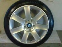 ALLOYS X 5 OF 17 INCH GENUINE BMW 3 SERIES FULLY POWDERCOATED IN STUNNNING SILVER SPARKLE WITH TYRES