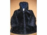 Navy blue SPARKLY FURRY COAT - lined IMMACULATE age 3-4 +FREE JUMPER +FREE FARM DOMINOES - REDUCED!