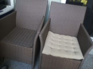 Outdoor Resin Wicker Chairs (2) with cushions