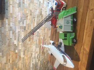 Playmobil Firetruck Airplane and Recycling Truck Cambridge Kitchener Area image 1