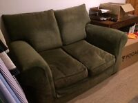 Two seater sofa - Olive green - free to a good home
