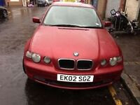 02 BMW COMPACT PETROL FULL CAR BREAKING FOR ANY PARTS CALL ON