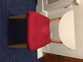 4 wooden dining chairs and red cushions in excellent condition