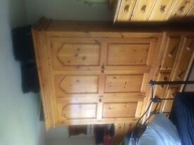 Large pine wardrobe in good condition