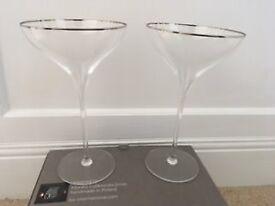 Elegant Champagne Saucer Set of 2 - LSA Savoy Platinum