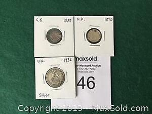 3 British Silver Coins 1838 To 1936 - Time slot A