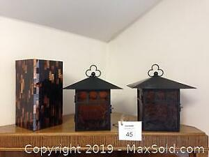 PartyLite large mosaic, Art Deco Style Hurricane Tealight Candle Holder and 2 metal and glass lanterns. C