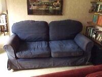 3 - 4 Seater Large Blue Sofa - FREE