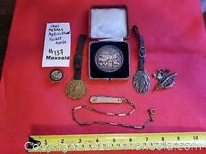 Antique silver medal, watch fobs, pins, knife