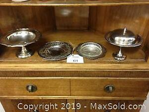 Butter dish, circular dish and 2 footed serving dishes, 1 with lid. C