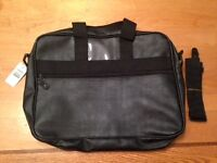 Black Leather-Look Soft-Sided Briefcase