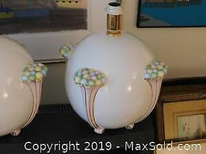 Pair 1970s Italian Signed Hand Painted Lamps
