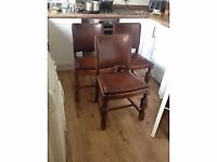 3x vintage oak dining chairs with faux leather back and seat