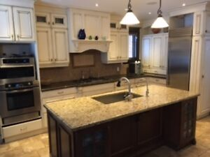 Used Custom Built French Country Kitchen Cabinets & Island