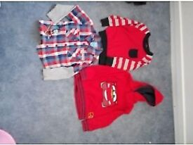 Age 2-3 years boys tops 1 jumper, 1 fleece cars hoodie and 1 thomas shirt top £5