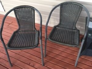 Set of Two Dark Brown Matching Patio Chairs