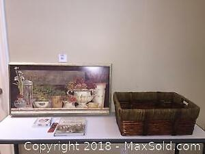 Kathryn White Picture & Large Wicker Basket Lot