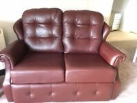 2 seater leather sofa and matching armchair