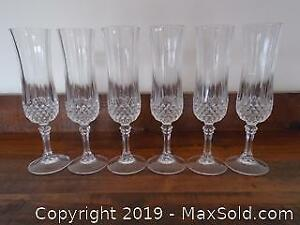 6 Crystal Champagne Flutes Made in France