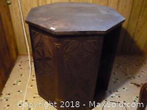 Octagonal Ornate Side table with locking hidden cabinets. -A