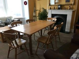 Solid wooden table with 6 chairs