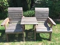 Pair of Solid Wood Patio Love Seats