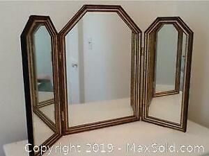Vintage Gilt Three Sided Vanity Mirror