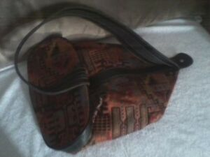 Silk and leather Turkish Kilim knapsack/bag