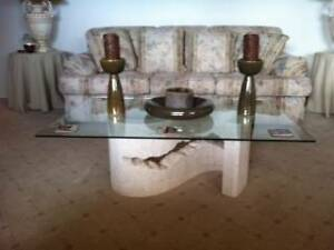 Coffee Table Glass with Fossil Stone Base as New Condition Greenwith Tea Tree Gully Area Preview