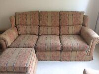 Duresta 3 seater sofa x 2 chairs and footstool in super condition - smoke free home!
