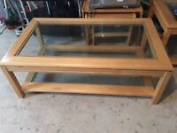 Glass topped Coffee Table side table with light wood frame .Bargain for £25!