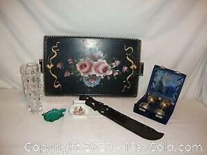 Lot vintage collectible items hand painted serving tray, African ceremonial ebony knife