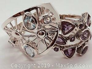 2 Stamped 925 silver rings with Amethysts and Aquamarines, Size 9