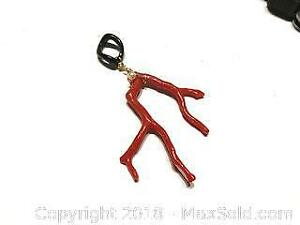 14K Gold Filled Italian Red Coral Branch Pendant