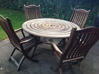 Garden Table with 4 Chairs (wood) and weather cover
