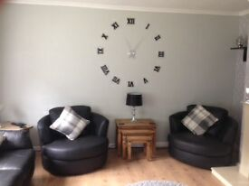 two leather round arm chairs