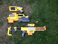 Nerf blasters set of 3, yellow and black .
