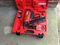 Hilti 1st fix gas nail gun with two battery's/charger and case
