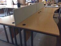 Oak 4 desk pod set